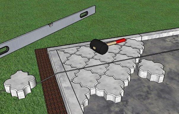 Как класть тротуарную плитку  на даче
